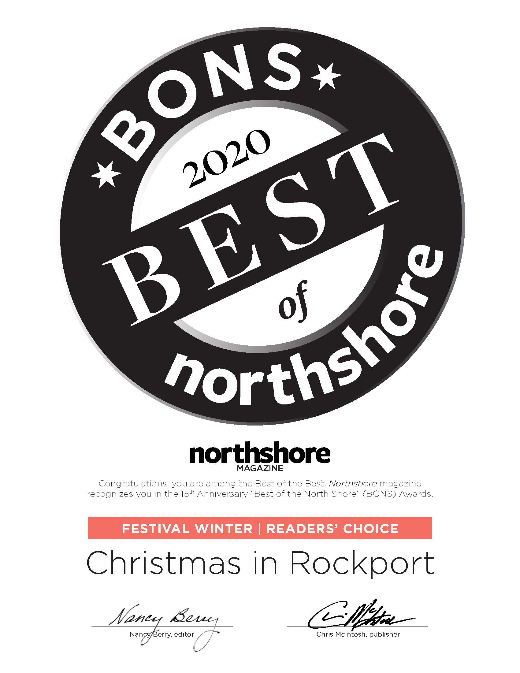 Rockport Christmas 2020 Cape Ann Chamber of Commerce Awarded BONS 2020 Best Winter